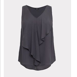 Grey Georgette V-neck Ruffle Front Blouse